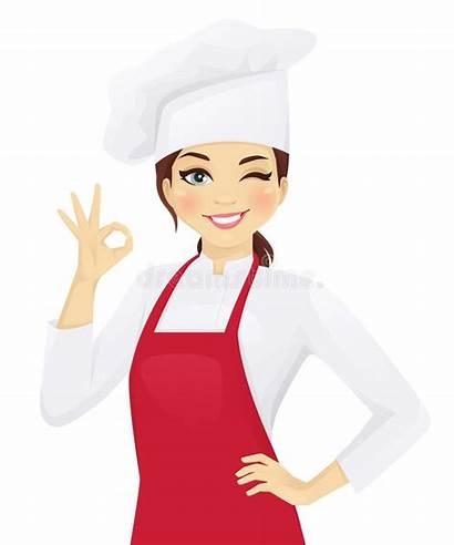 Chef Woman Ok Vector Gesturing Illustration Confident