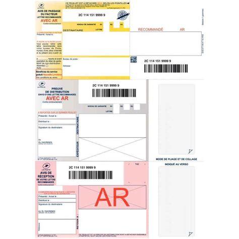 barre bureau boîte de 1000 imprimé recommandés avec accusé de réception