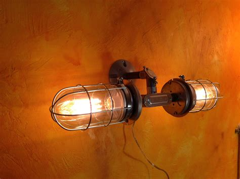 industrial wall sconce double head cage light modern