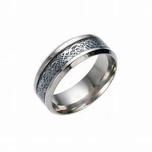 men39s women39s titanium celtic dragon wedding ring band With flat womens wedding rings