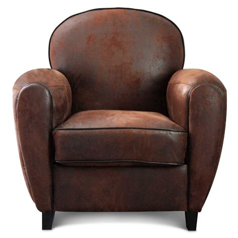 fauteuil club microfibre marron vintage havane
