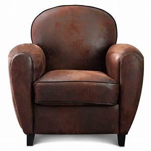 Fauteuil Cuir Marron Vintage : fauteuil club microfibre marron vintage havane ~ Teatrodelosmanantiales.com Idées de Décoration