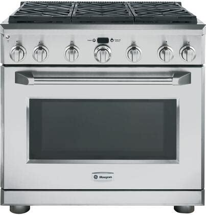 ge monogram zdpnpss   stainless steel dual fuel freestanding range  sealed burner