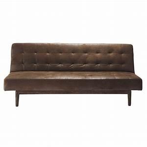 3 Sitzer Sofa : gestepptes ausziehbares 3 sitzer sofa braun studio maisons du monde ~ Frokenaadalensverden.com Haus und Dekorationen