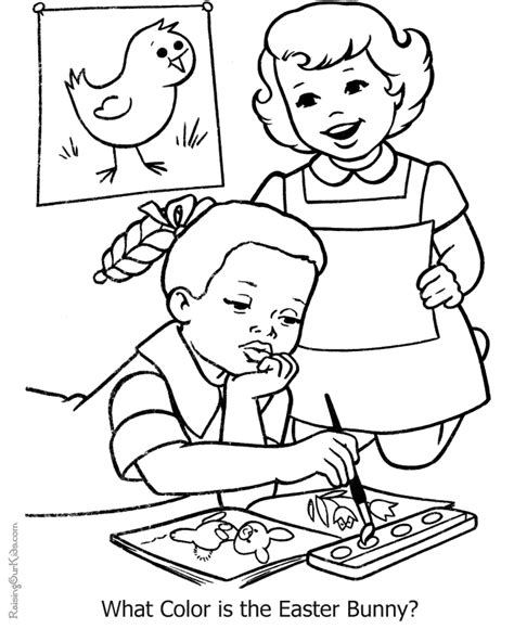 kid coloring book page  easter