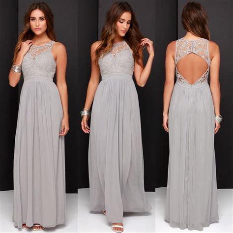 Grey Bridesmaid Dresses 2016 Plus Size Open Back Lace