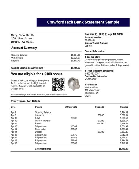 bank statement template bravebtr