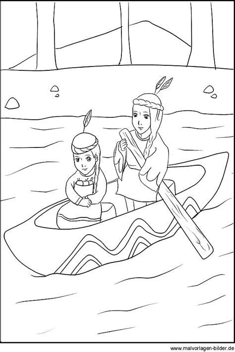 ausmalbild von zwei indianer kinder