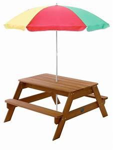 Table Bois Pique Nique : table de pique nique en bois avec parasol ~ Melissatoandfro.com Idées de Décoration
