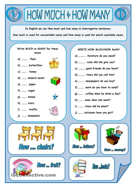 How Much & How Many  Worksheet  Pinterest English