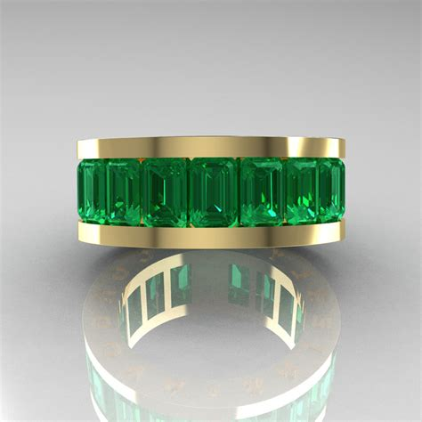 mens modern  yellow gold emerald channel cluster