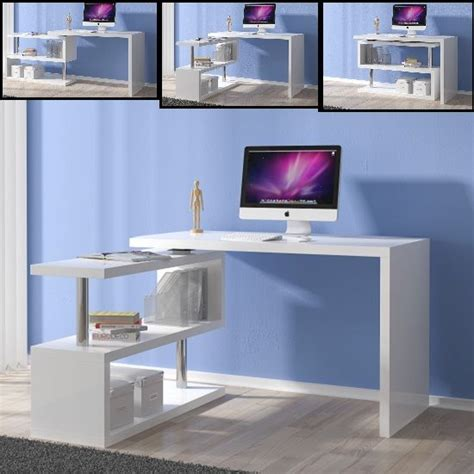 miami computer desk rotating  white high gloss