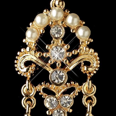 gold ivory pearl rhinestone chandelier earrings 1221