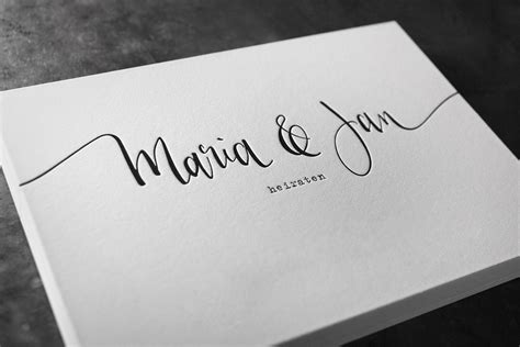 letterpress hochzeitseinladung mit kalligraphie und