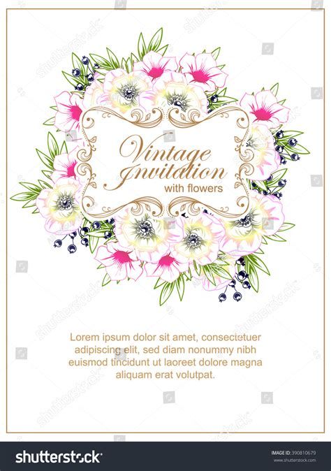 Vintage Delicate Invitation Flowers Wedding Marriage Stock