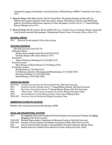 curriculum vitae curriculum vitae examples biology