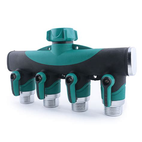 4 way garden lawn water hose connector pipe faucet