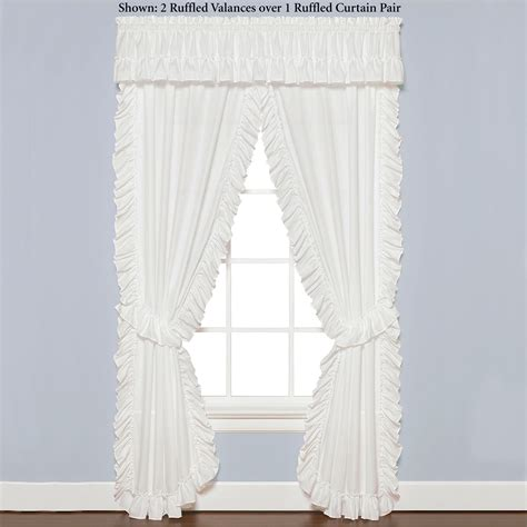 white priscilla curtains with attached valance white semi sheer ruffled window treatment