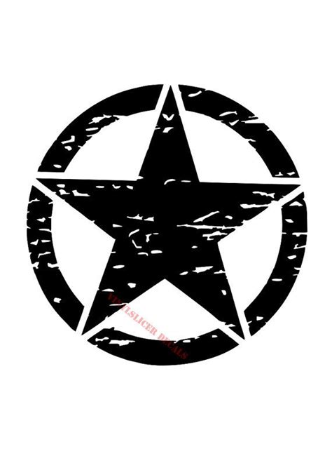 distressed jeep army star decal military custom decal