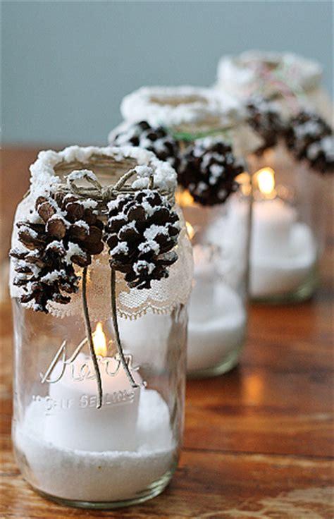 wintry pine cone mason jars allfreeholidaycraftscom