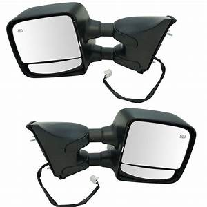 Towing Mirror Power Heated Chrome Smooth Black Pair For