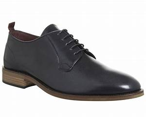 Poste Guido Plain Toe Shoes Navy Leather
