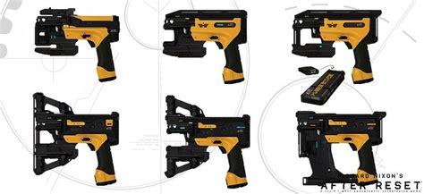 ak nail gun after reset weapon concept art expands on laser pistols assault rifles grenades and nail gun