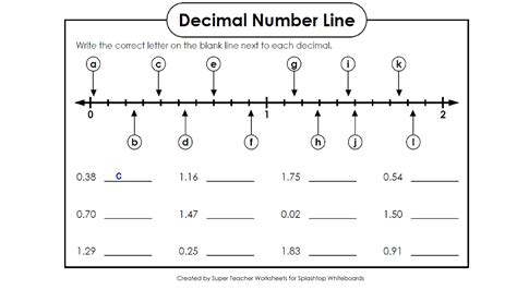 decimals on a number line worksheets year 6 addition