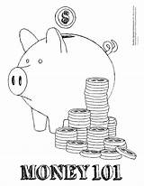 Coloring Pages Money Printable Sheet Coin Piggy Bank sketch template