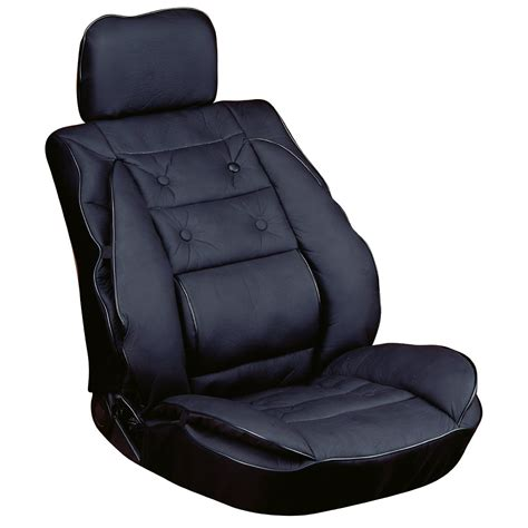black lumbar seat cushion luxury leather look ergonomic