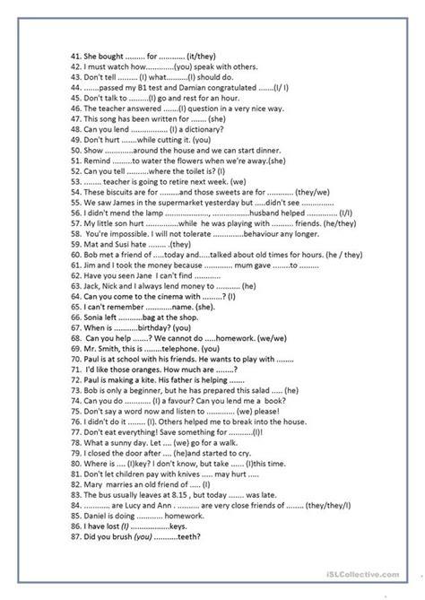 mixed pronoun sentences worksheet  esl printable