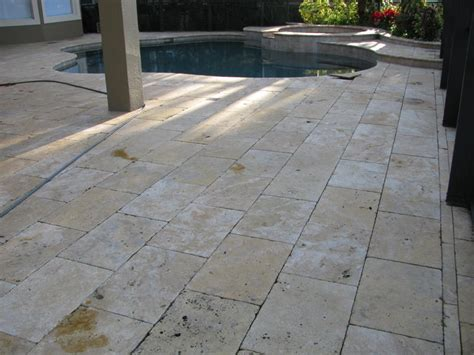brick paver concrete pool deck travertine cleaning and