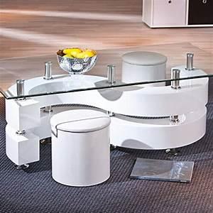 Wohnzimmertisch Glas Holz : li il glastisch wohnzimmertisch glas 2 hocker weiss ~ Markanthonyermac.com Haus und Dekorationen