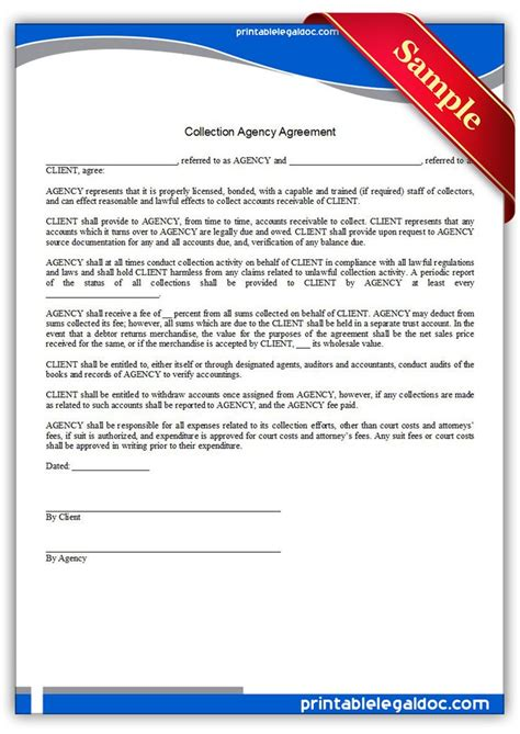 printable collection agency agreement sample