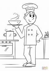 Coloring Chef Pages Printable Drawing Community Helpers Professions sketch template