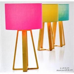Lampe A Poser Pas Cher : lampe rose avec pied en bois achat vente lampe a poser ~ Teatrodelosmanantiales.com Idées de Décoration