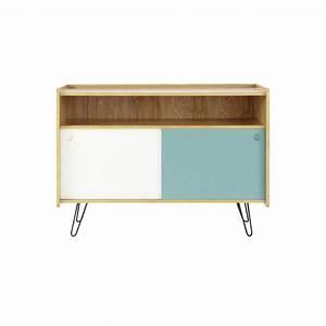 Meuble TV vintage en bois blanc et bleu L 105 cm Twist Maisons du Monde