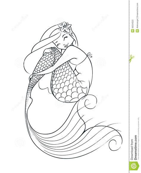 Mermaid Outline Drawing