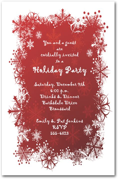 snowflakes  red holiday invitation christmas invitations