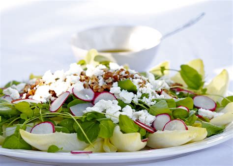 cuisine endives endive watercress and radish salad with walnuts and goat