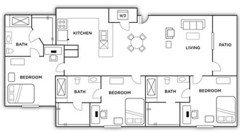 3 Bedroom 3 Bathroom Apartments by Apartment Floor Plans The Highlands Near Unr