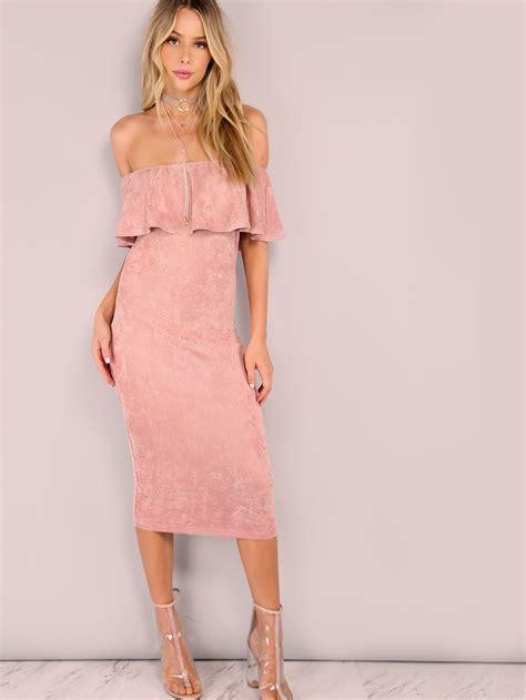 faux suede ruffled bardot bodycon midi dress pink