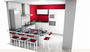 Plan De Cuisine 3d : cuisine en u avec table perfect cuisine en u avec table u ~ Nature-et-papiers.com Idées de Décoration