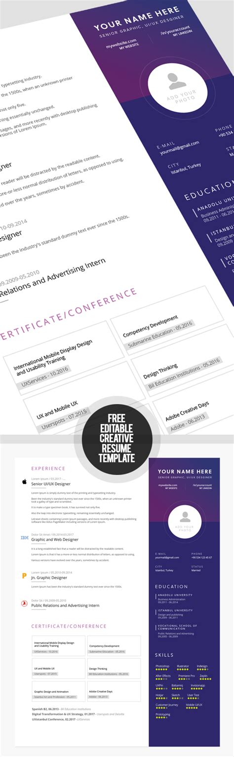 Creative Resume Templates Free by 23 Free Creative Resume Templates With Cover Letter