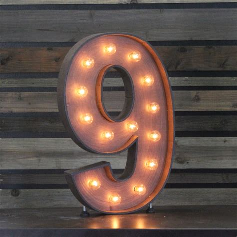 """Edison Marquee Number  """"9""""  Town & Country Event Rentals"""