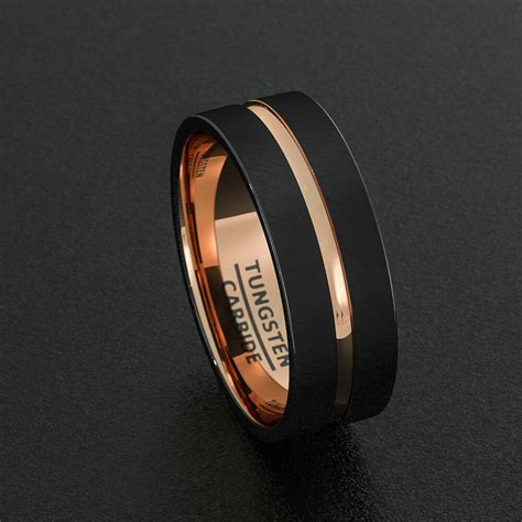 tungsten wedding bands 8mm mens ring black brushed rose gold inner comfort fit ebay