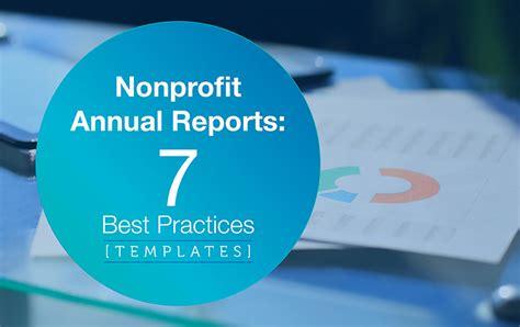 nonprofit annual reports   practices templates