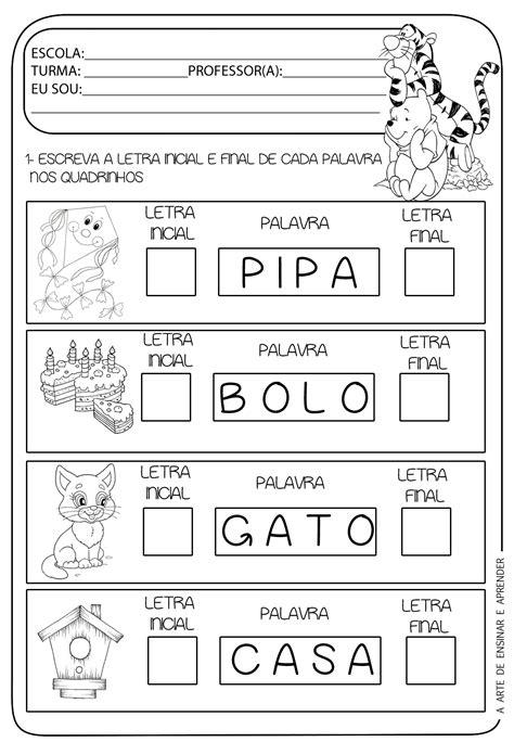 atividade pronta letra inicial e das palavras a arte de ensinar e aprender