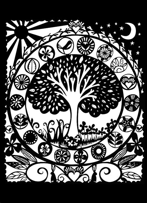 Coloring Background by Tree Black White Flowers Coloring Pages Page 2