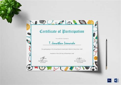 sample participation certificate psd  word ai